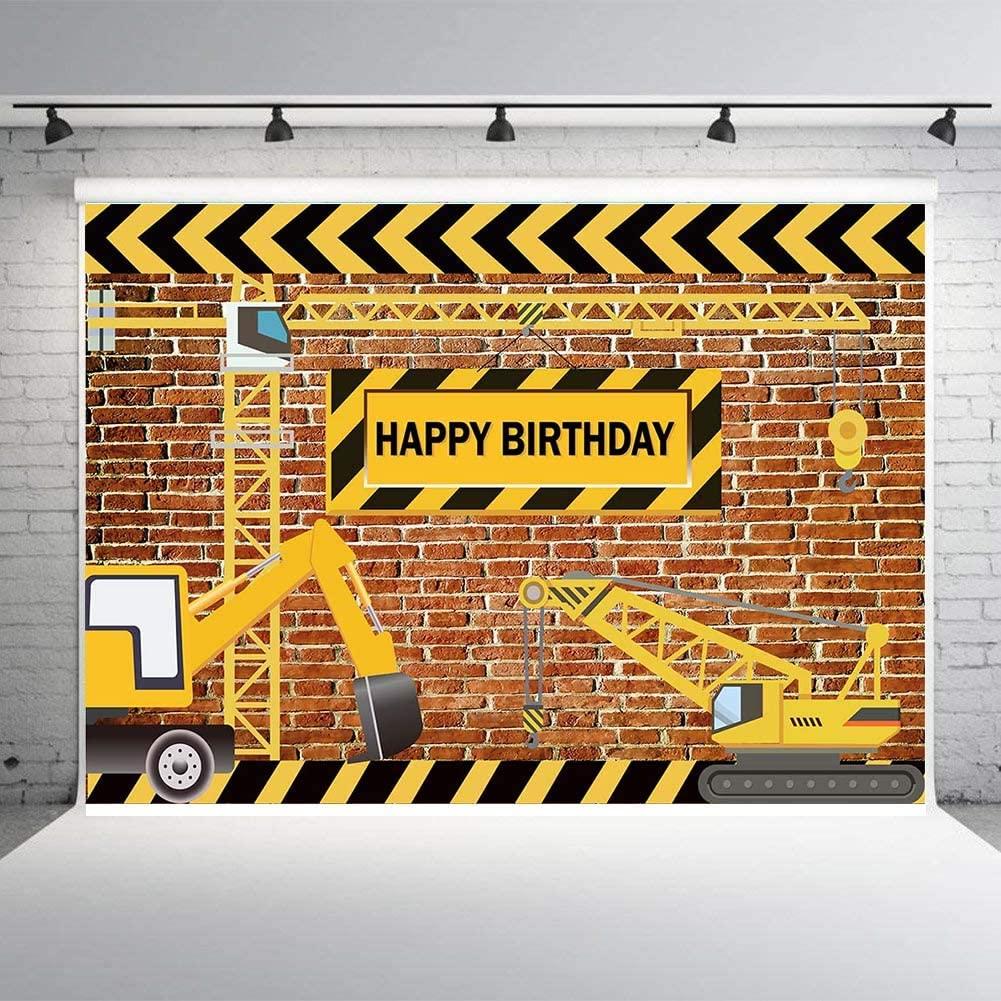 Fanghui 7x5FT Boys Construction Theme Party Photography Backdrops Bricks Builder Dump Trucks Happy Birthday Banner Decorations Photo Background Studio Props Supplies