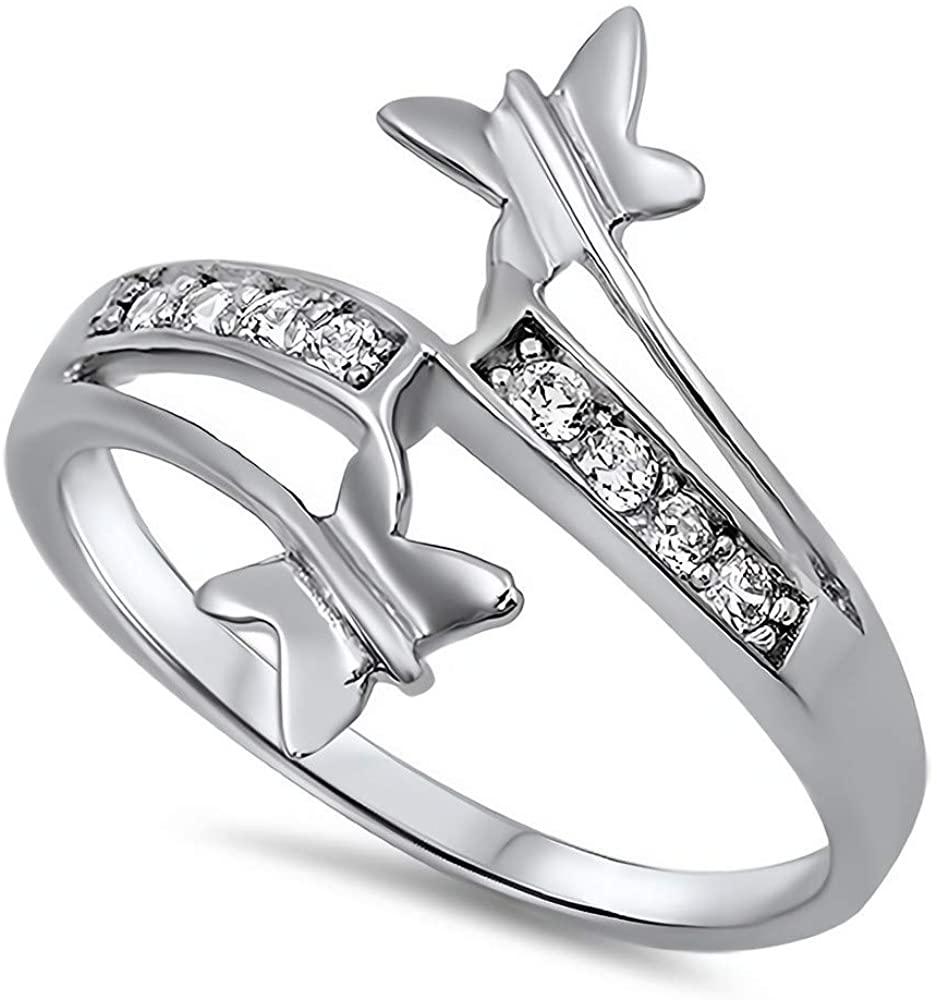 Glitzs Jewels 925 Sterling Silver CZ Ring (Clear) | Cubic Zirconia Jewelry Gift
