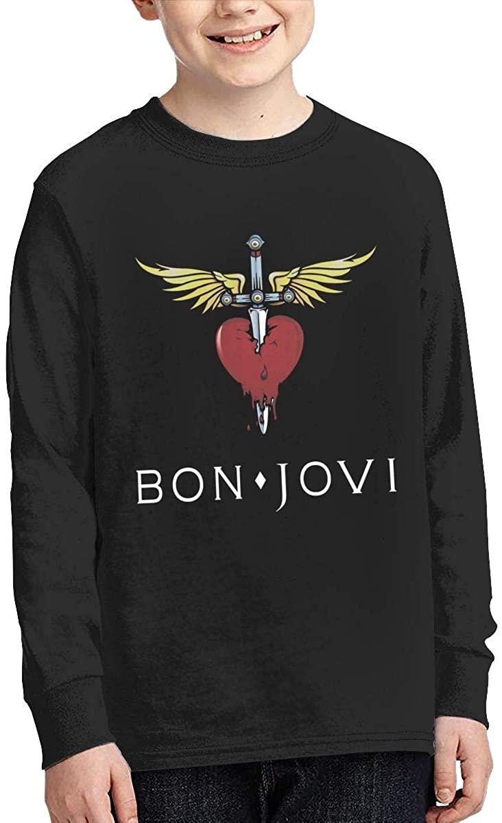 Youth Bon Jovi Sports Boy Or Girl Long Sleeve Shirt-Moisture Absorbing and Perspiration. Black