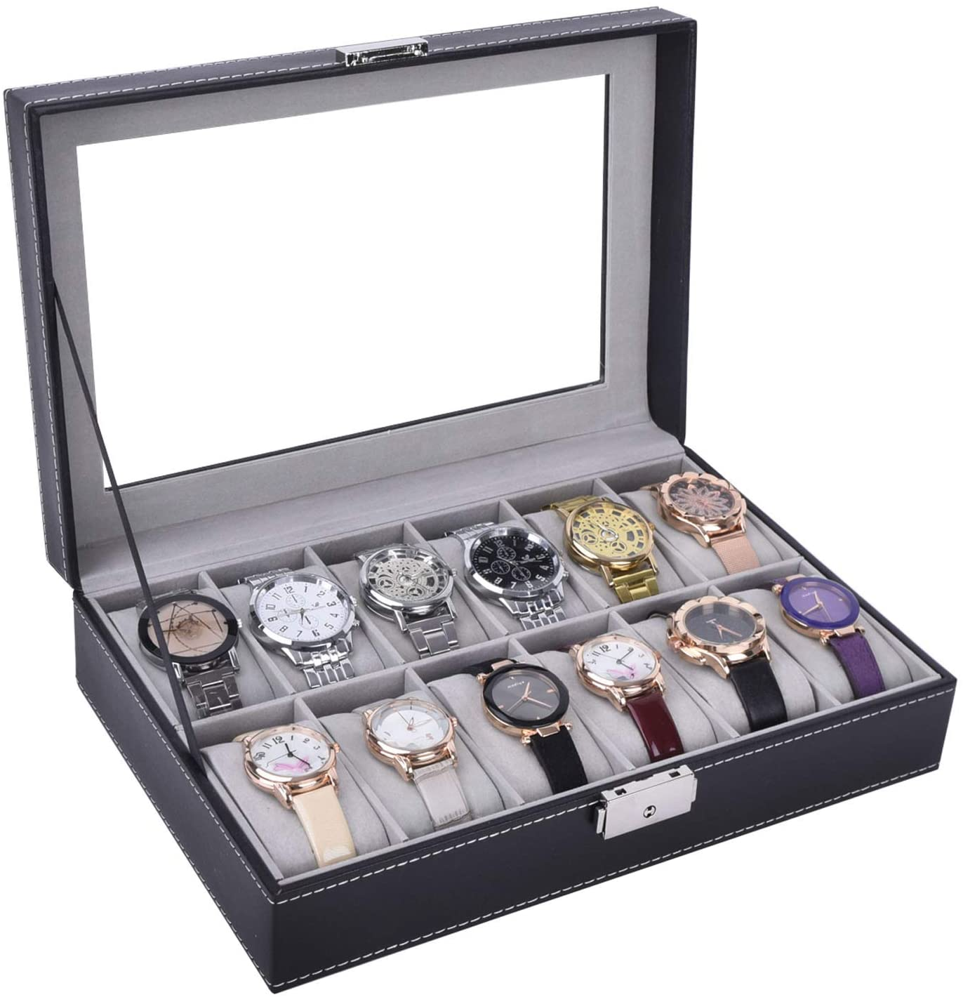 AUTOARK Leather 12 Watch Box Glass Top Watch Jewelry Display Case Organizer,Black,AW-040