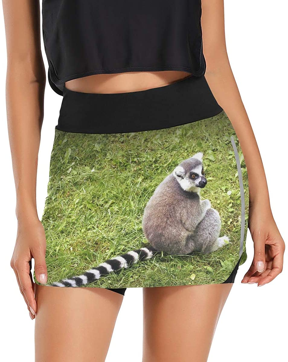 Zebra Tail Animal Cool Women's Tennis Golf Skorts Skirts with Pockets Inner Biker Shorts Cute