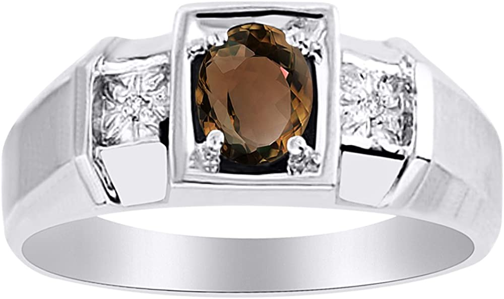 Birthstone Ring Sterling Silver or Yellow Gold Plated Silver Smoky Quartz & Diamond Ring