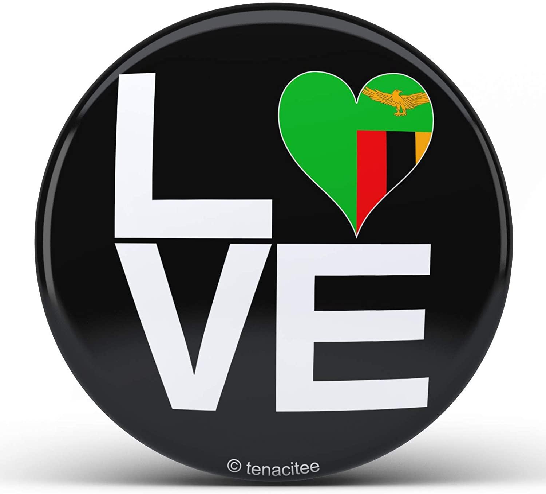 Tenacitee Love Block Zambia Heart Pinback Button