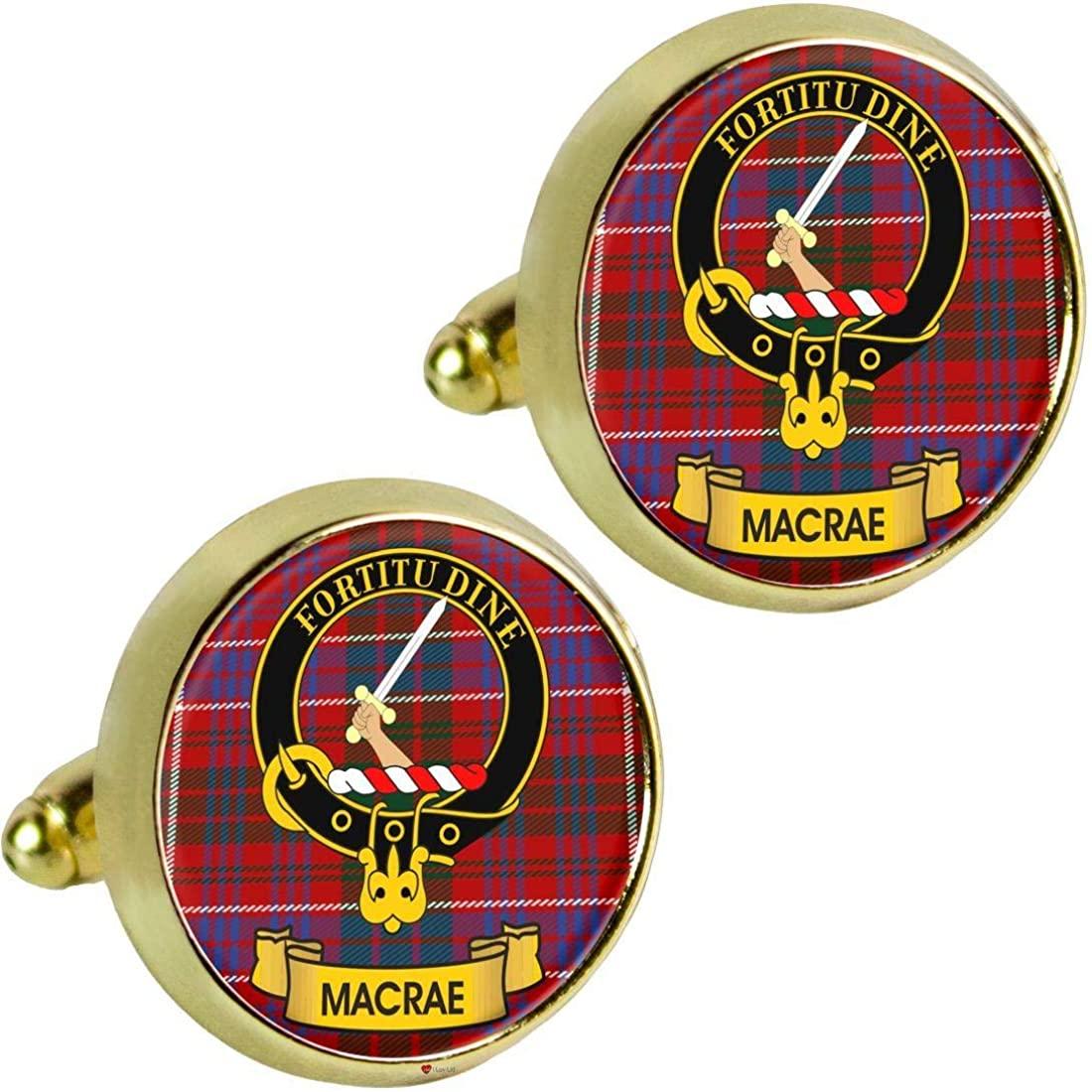 I LUV LTD Macrae Scottish Clan Crest Mens Cufflinks in Gold Colour Product of Scotland