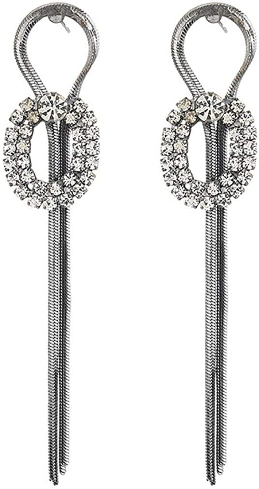 YAZILIND Simple 8-shaped Long Chain Pendant Tassel Drop Earrings Women Girls Ear Jewelry Gift