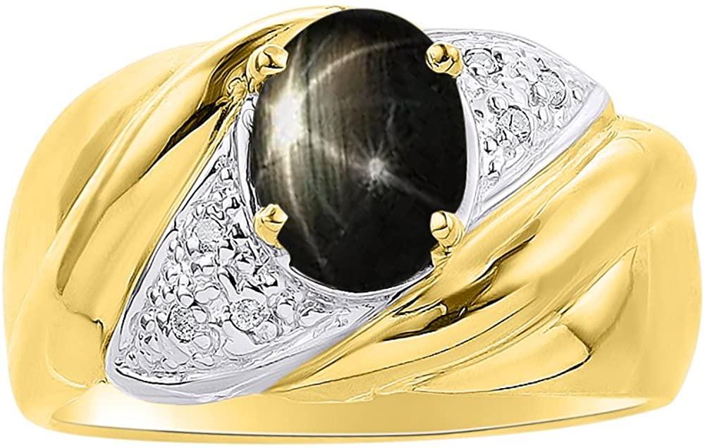 Diamond & Black Star Sapphire Ring Set In 14K Yellow Gold - Color Stone Birthstone Ring