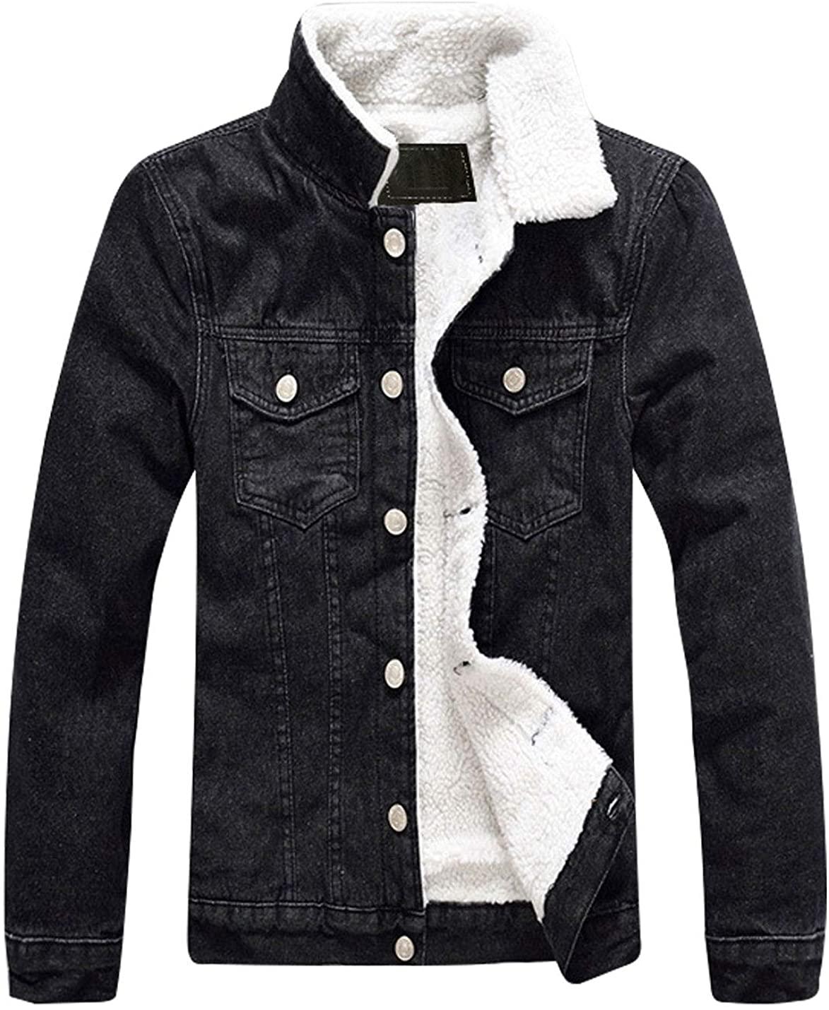Omoone Men's Long Sleeves Lapel Sherpa Fleece Lined Black Jean Denim Jacket Coat