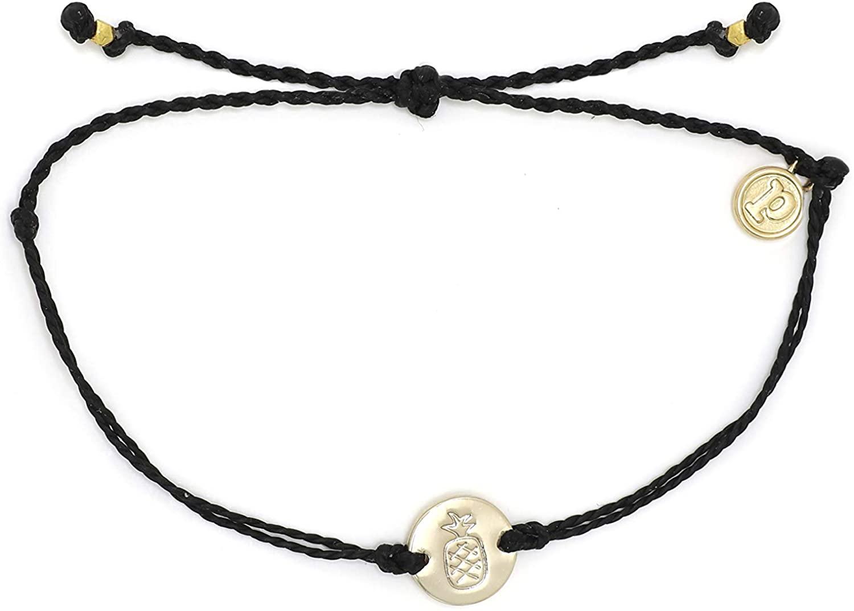 Pura Vida Aloha Silver or Gold Pineapple Coin Bracelet w/Plated Charm - Adjustable Band, 100% Waterproof