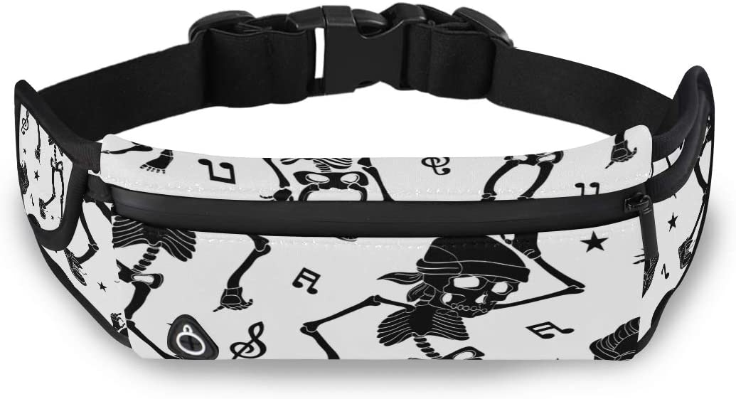 Cool Fashion Dance Skeleton Girls Waist Bag Fashion Bag For Kids Mens Waiste Bags With Adjustable Strap For Workout Traveling Running