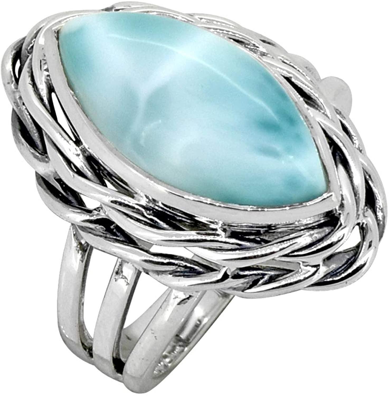 YoTreasure Natural Larimar Solid Sterling Silver Split Shank Ring