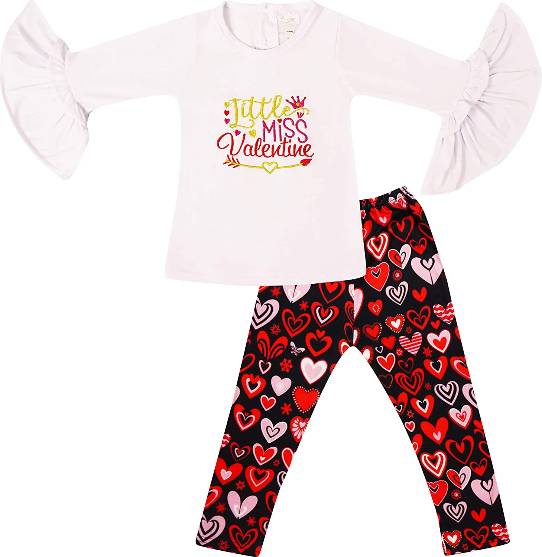 Boutique Girls Valentines Day Little Miss Outfit Top Leggings 2-pcs Set