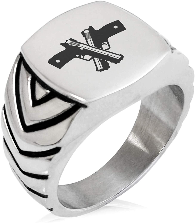 Tioneer Stainless Steel Duelist Emblem Chevron Pattern Biker Style Polished Ring