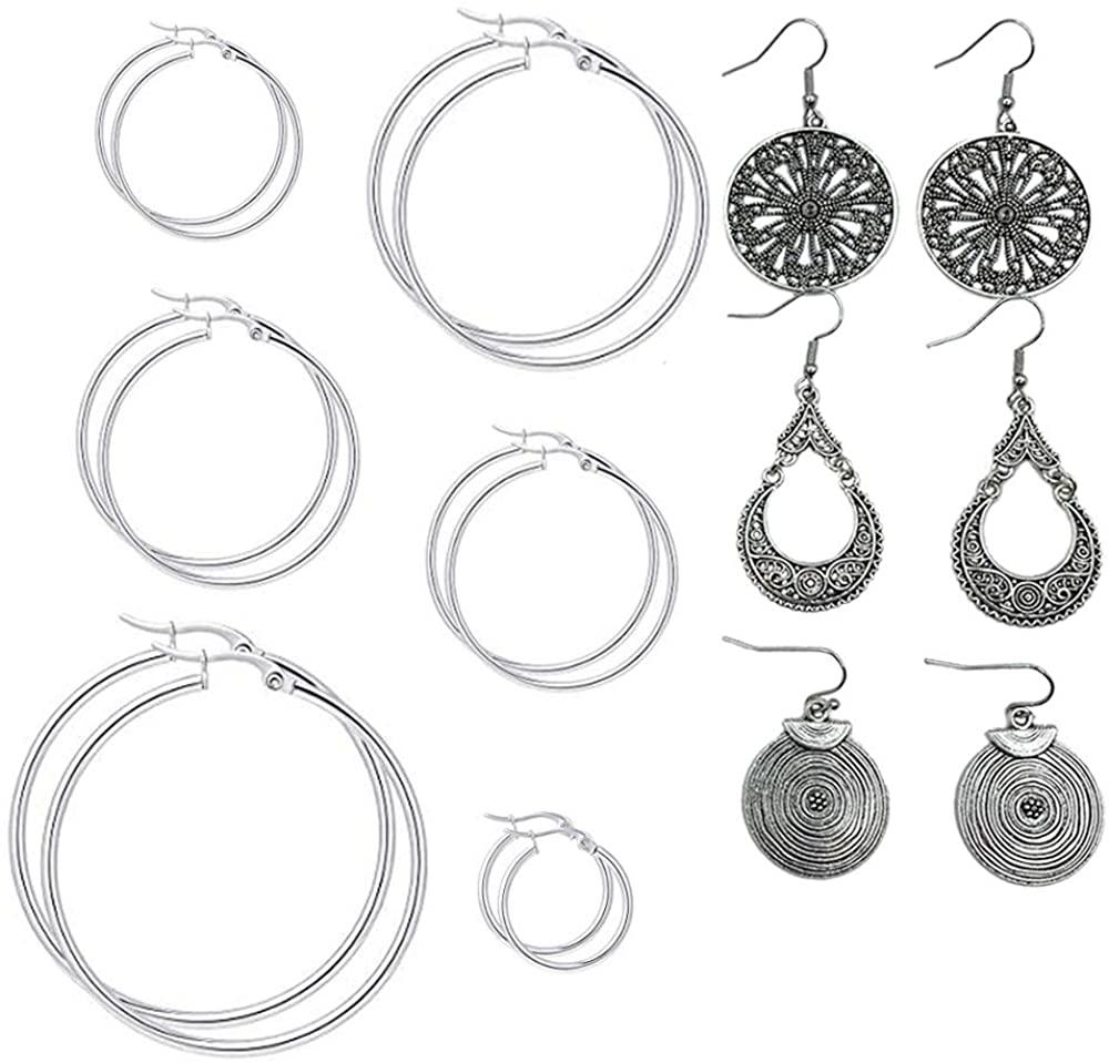 GOJINXI Earrings for Women Set Hoops Dangle Bohemian Earrings wooden Acrylic