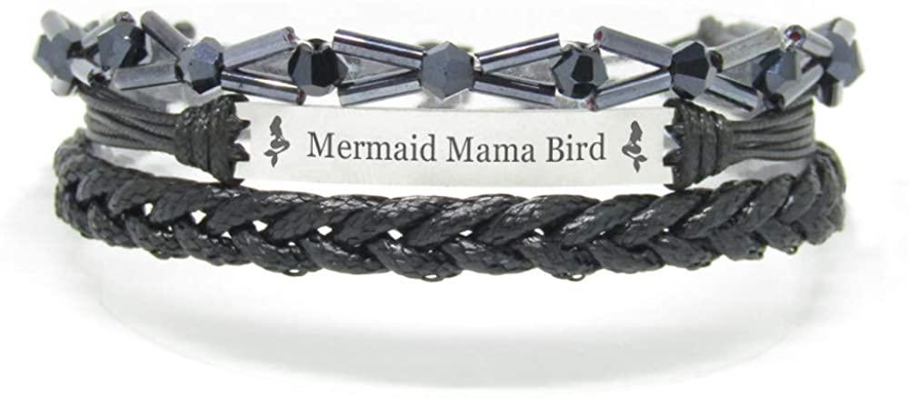 Miiras Family Engraved Handmade Bracelet - Mermaid Mama Bird - Black 7 - Made of Braided Rope and Stainless Steel - Gift for Mama Bird