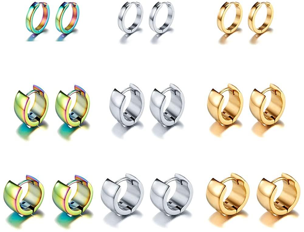 EXGOX Stainless Steel Hoop Earrings Hypoallergenic Cartilage Huggie Stud Cuff Earrings Set with Gift Box