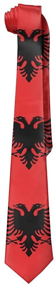 Flag Of Albania Men's Long Leisure Skinny Necktie Ties Necktie Silk Neckwear Gift Box