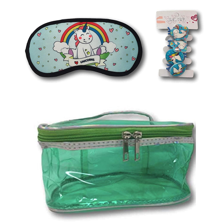 Unicorn Beauty for Girls Train Case Beauty Bag, Unicorn Eye Mask and 4 Unicorn Ponytail Hairbands (Green)