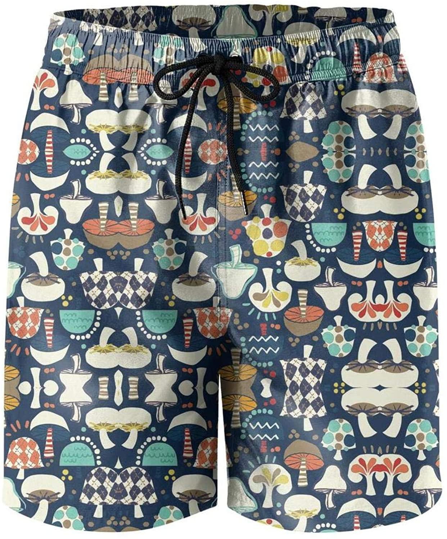 dasndopi Mens Balck and White Mushroom Beach Pants Running Shorts Mini Beach Pants for Men