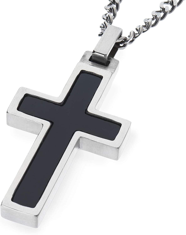 Unique GESTALT Titanium Cross Necklace with Onyx Inlay.