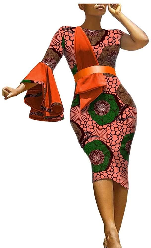 African Ankara Print Women Dress with Sashes Single Flare Sleeve Knee Length 100% Batik Cotton Made AA1825089A