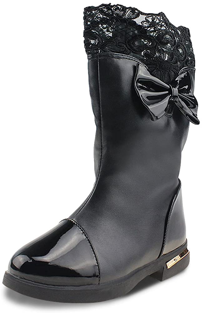 Maxu Red Bowtie Princess Lace Child High Boots