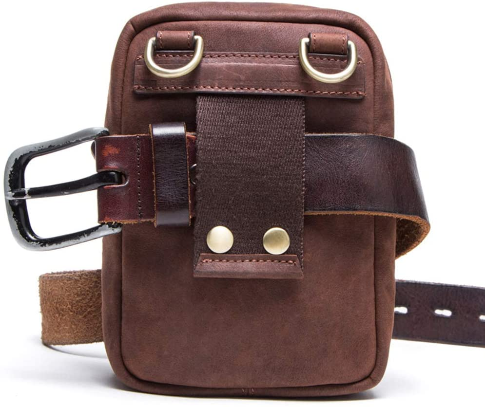 YYQX-4X Waist Pack for Men Leather, Vintage Leather Men's Purse/Multi-Function Leather Shoulder Bag Crossbody Bag Anti Theft,Brown