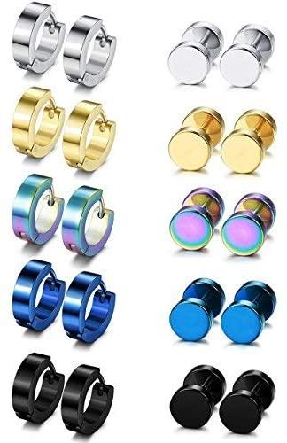 Besteel 10 Pairs Hoop Earrings Gauge Earrings for Men Women Stainless Steel Cool Earrings Set