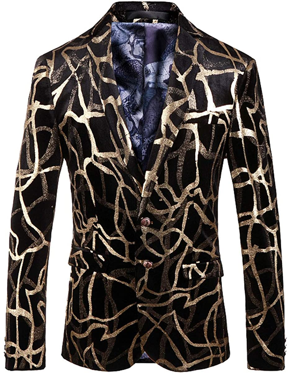 OUYE Men's Golden Black Stylish Suit Jacket