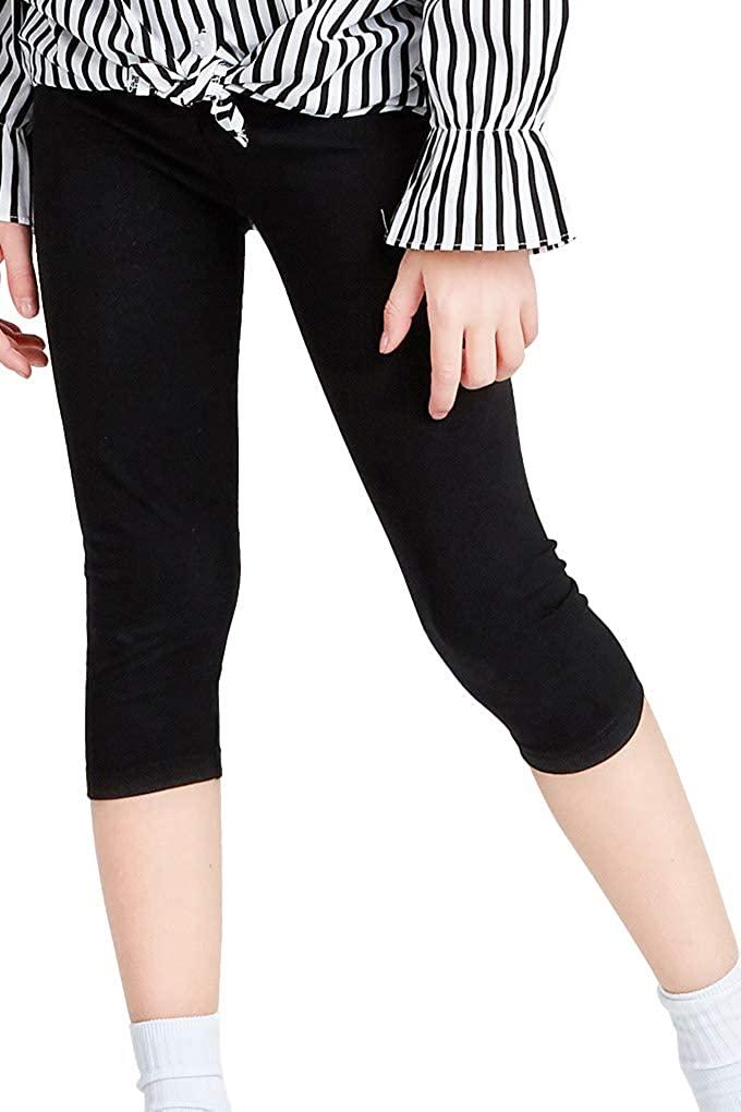 Nobranded Girls' Cotton Capri Leggings Black