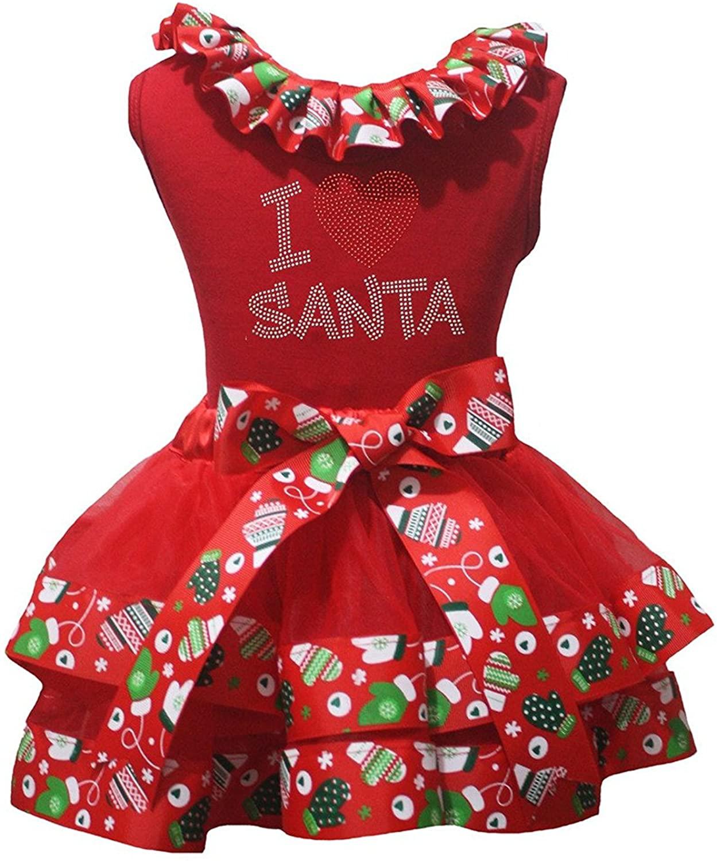 Petitebella Christmas Santa Claus Shirt Red Ribbon Petal Skirt Set Nb-8y