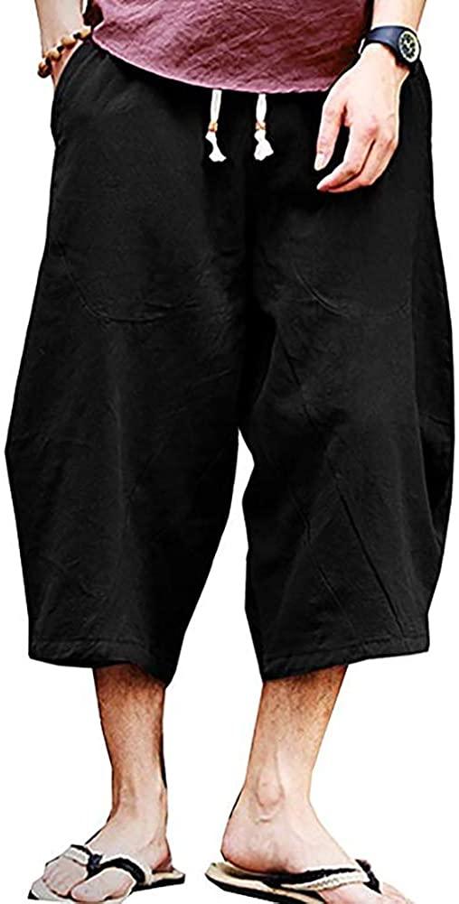 FASKUNOIE Mens Patchwork Shorts Baggy Capri Pants Loose Fit Linen Casual Pants with Pockets