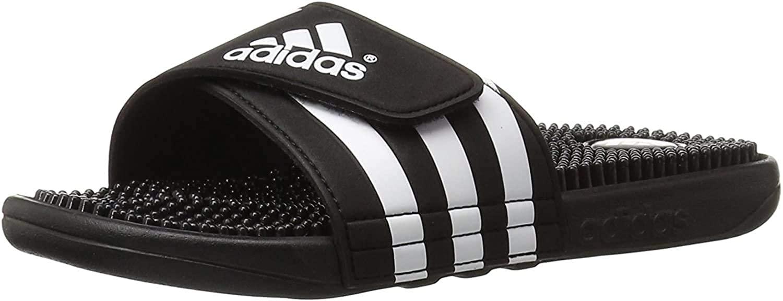 adidas Originals Mens Adissage Slides,Black/Black/White,6 M US