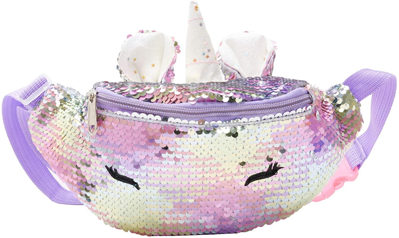 Women Girls Boys Kids Reversible Sequins Unicorn Fanny Pack Waist Pack Crossbody Purse Chest Bum Belt Bag