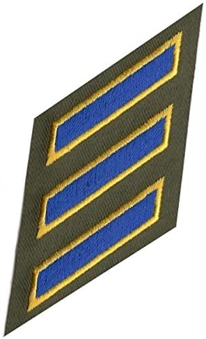 Uniform Service Hash Marks HASHMARKS CHP Royal Edged W/Gold ON Olive DRAB Twill CHP, 2