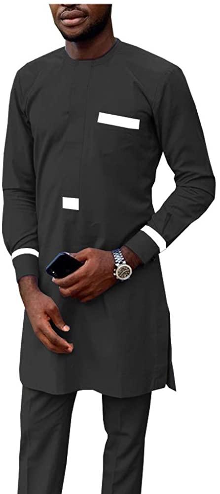 African Men Clothing Tracksuit Autumn Outfit Dashiki Print Shirt and Ankara Pants Blouse Pockets