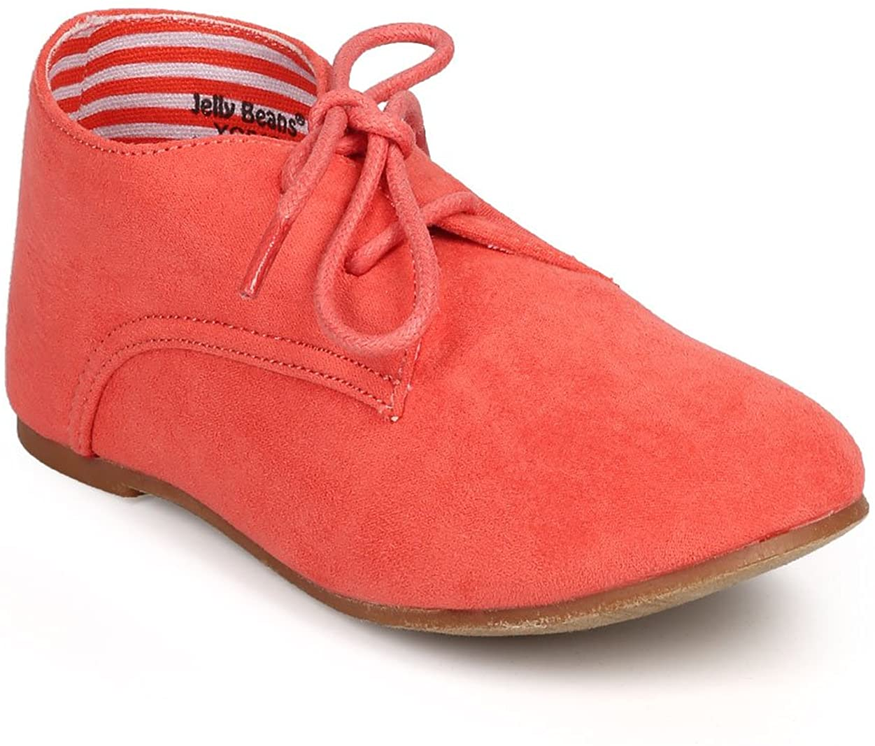 Suede Round Toe Lace Up Classic Ankle Oxford Flat (Toddler/Little Girl/Big Girl) DG66 - Coral (Size: Little Kid 11)