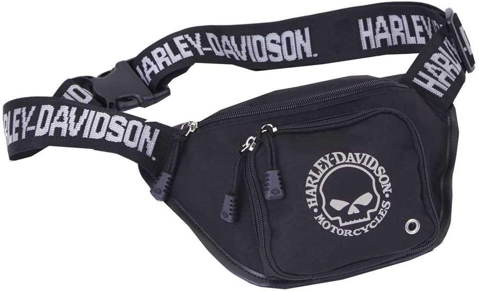 Harley-Davidson Willie G Skull Logo Belt Bag, Water-Resistant, Black 99426-SKULL