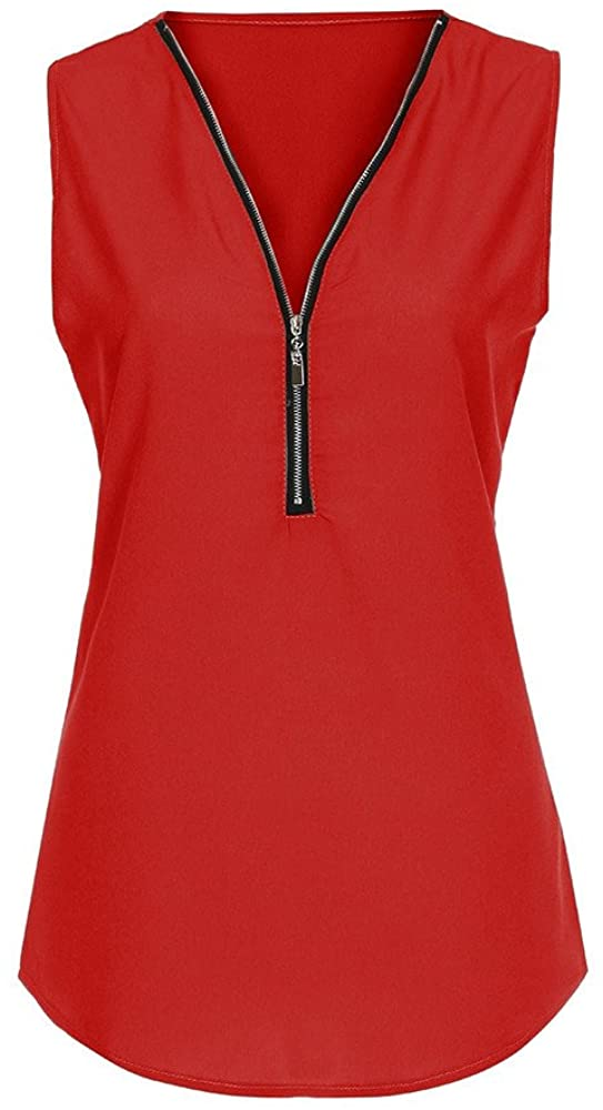 iLUGU Women Zipper Casual for Women Blouse Ladies Summer V Neck Loose Cami