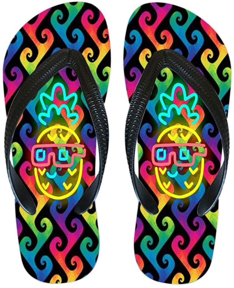 YIYIDA Women's/Men's Colorful Printing Cartoon Graffiti Summer Beach Slippers Flip Flops Sandals