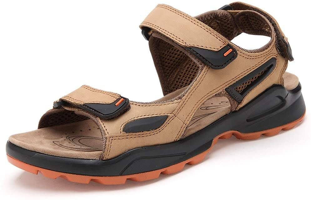 Monkibag-LT Men's Sandals Outdoor Water Shoes Slip On Style Leather Hook&Loop Strap Sports Leisure Sandals Outdoor Shoes (Color : Light Brown, Size : 10.5 M US)