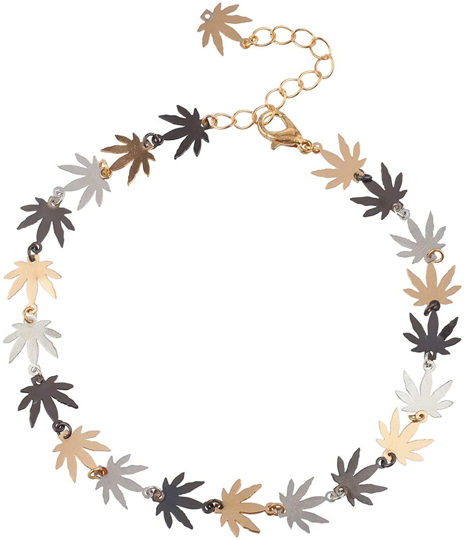 Lux Accessories Marijuana Weed Leaves Tricolor Silvertone Goldtone Chain Ankle Bracelet