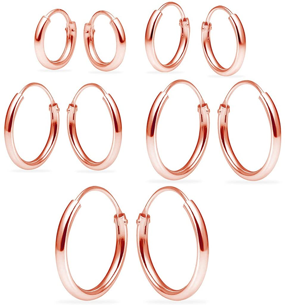5 Pair Set Sterling Silver 8mm, 10mm, 12mm, 14mm, 16mm Thin Round Continuous Endless Unisex Hoop Earrings