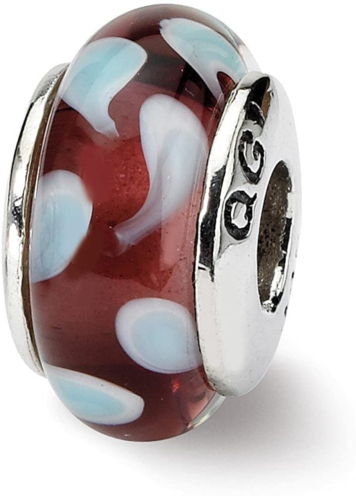 Bead Charm White Sterling Silver Glass 13.64 mm 7.27 Reflections Blue Hand-Blown
