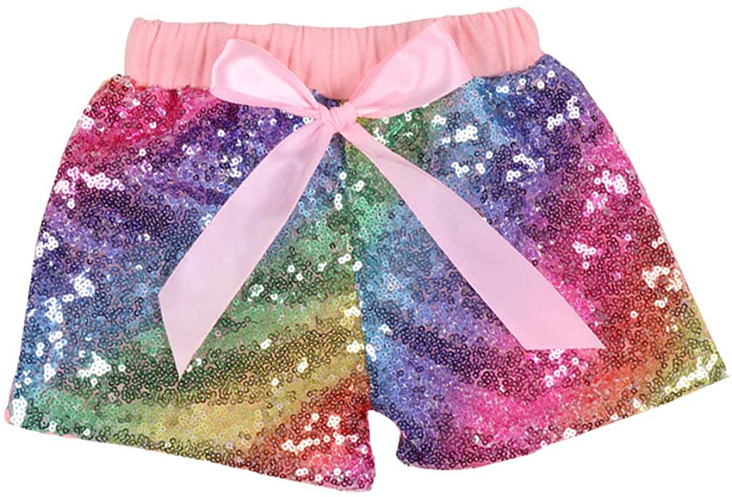 BoerMee Little Girls Glitter Sequins Ribbon Shorts Colorful Dancing Party Bling Shorts