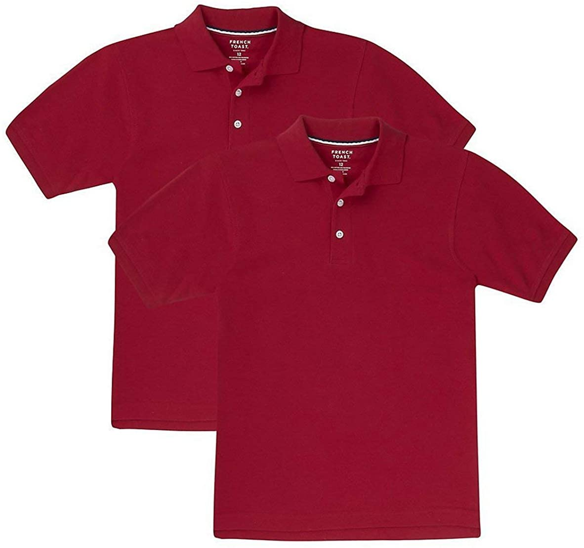 French Toast Boys' 2-Pack Short Sleeve Pique Polo Shirt (Red, M (8))