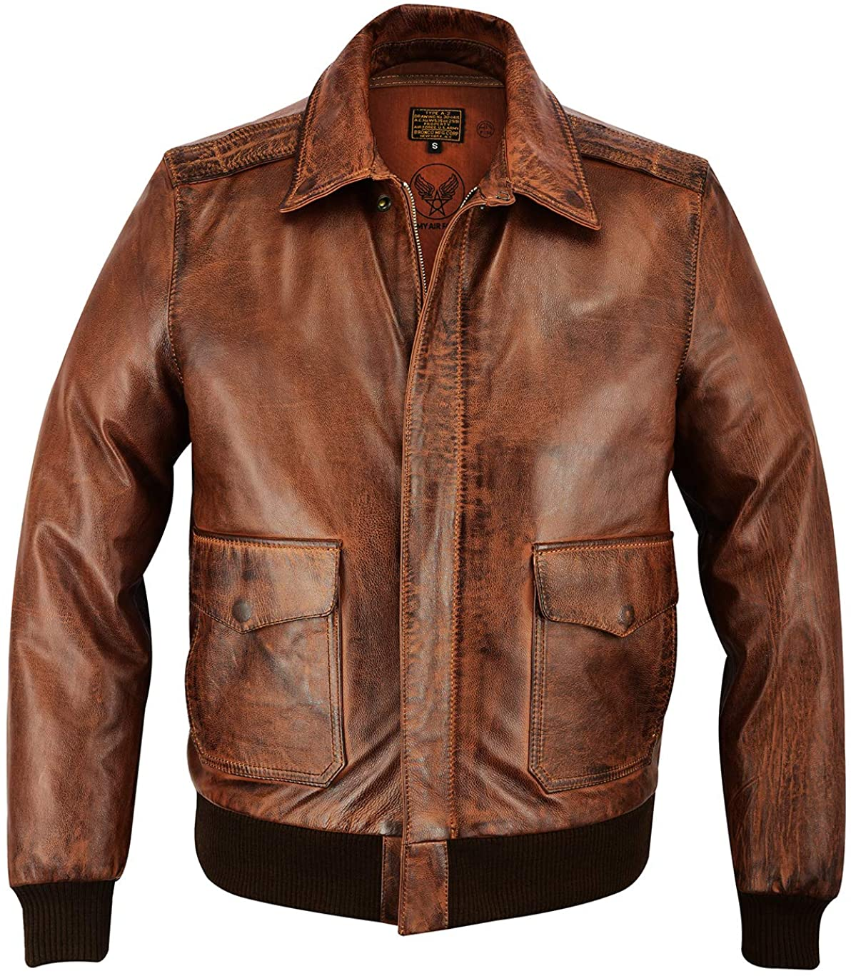 Men A-2 Real Goatskin Leather Pilot Flying Jacket Aviator Bomber Airforce Bronco Distressed Brown