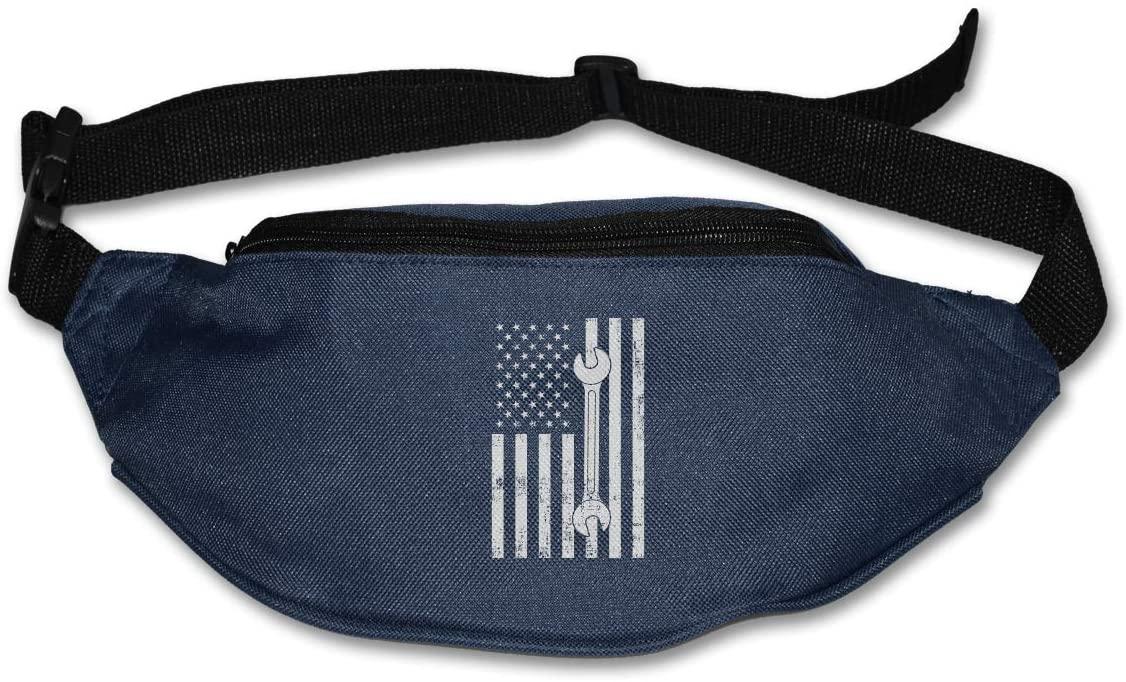 SWEET-YZ Unisex Waist Pack Vintage Mechanic USA Flag Flat Fanny Bag Pack for Sport Running