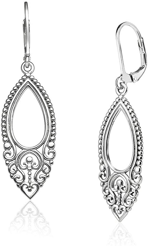 Big Apple Hoops - Lightweight 45mm Victorian Art Deco Filigree Leverback Dangle Pear Shaped Teardrop Earrings Made from Real Solid 925 Sterling Silver Oxidized Finish