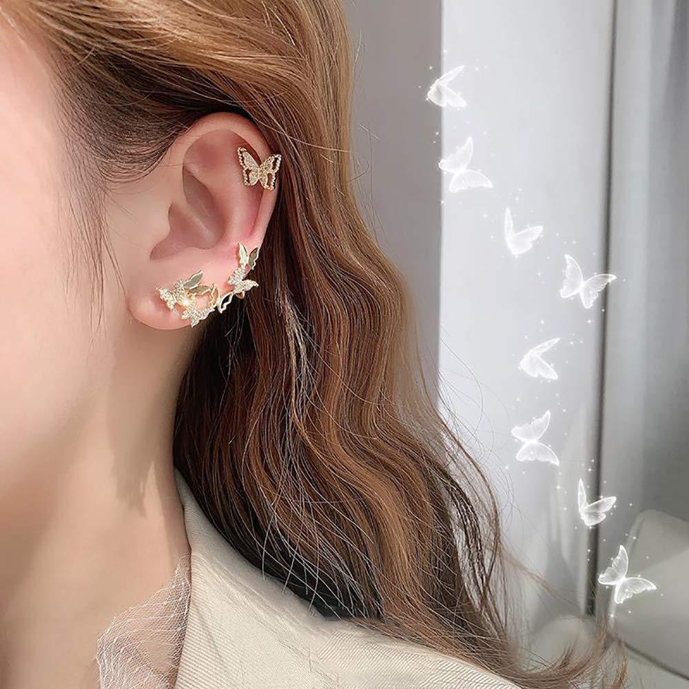 Denifery Gold Butterfly Earrings Multiple Butterflies Earrings Hypoallergenic Sterling Silver Crystal Butterfly Stud Earrings for Women and Girls