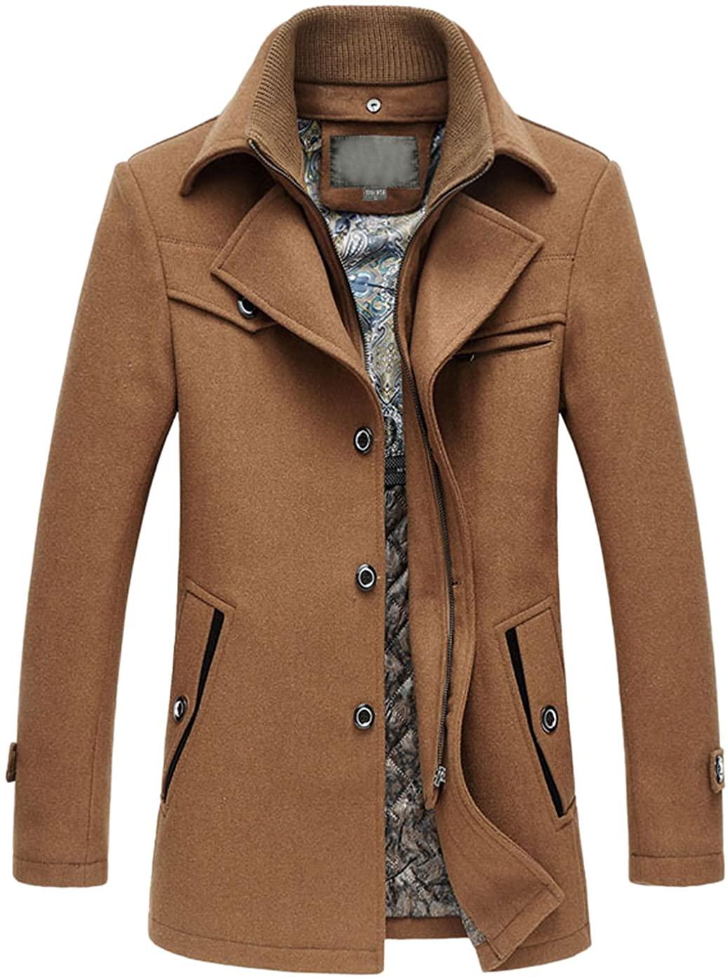 chouyatou Men's Winter Stylish Single Breasted Wool Blend Pea Coat with Detachable Bib